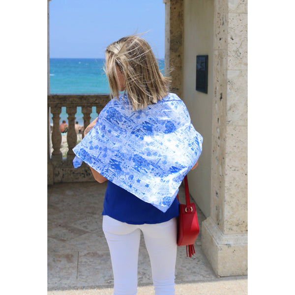 Palm Beach Scarf | Blue & White