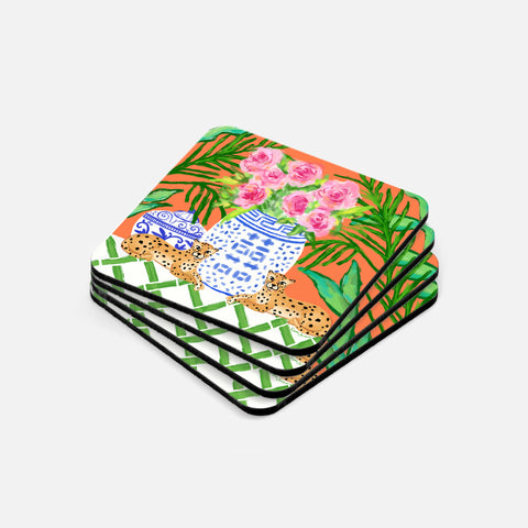 Pattern Play Coaster Set | Orange