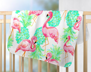 Flamingo & Pineapple Baby Blanket