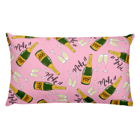 Make it POP pink lumbar pillow