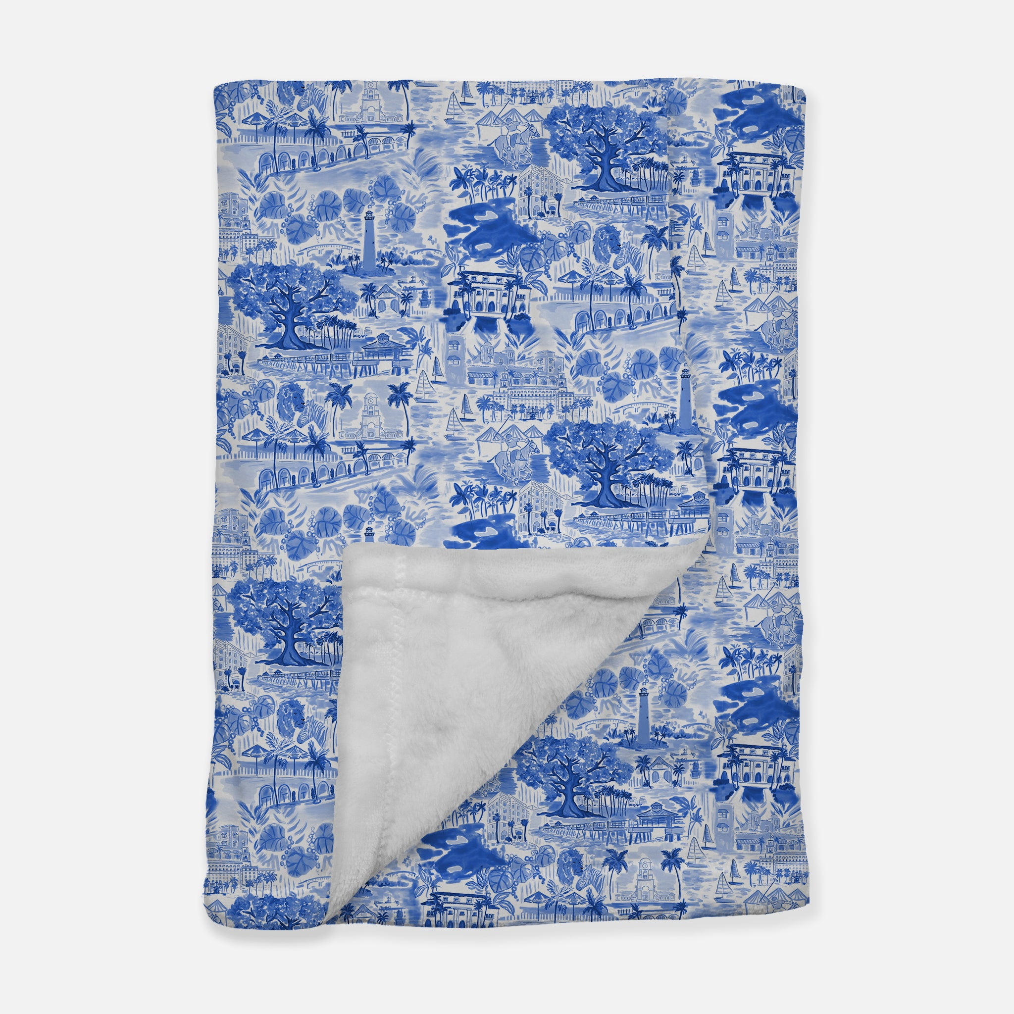 Palm Beach Blanket - Blue & White