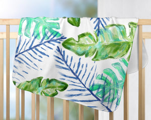 Palm Print Baby Blanket | Blue & Green