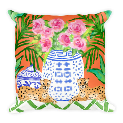 "Chinoiserie Pillow ""Pattern Play"" Orange"
