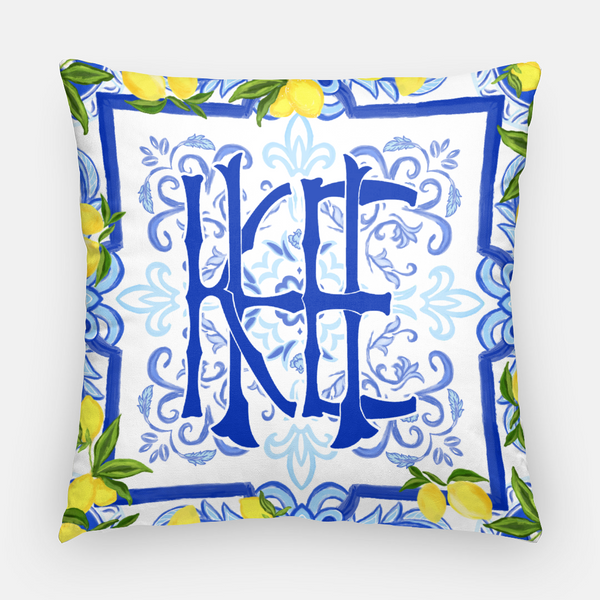 Amalfi Coast Custom monogram pillow