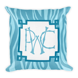 Monogrammed Zebra Pillow | Blue