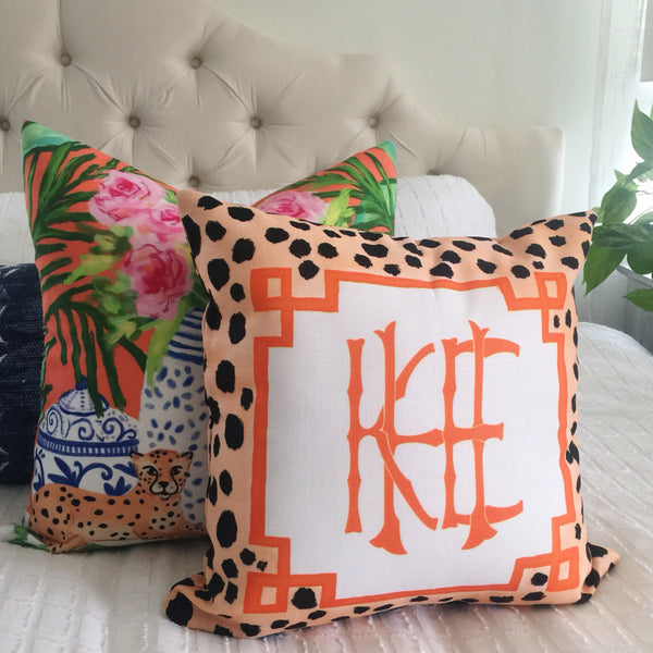 Monogram cheetah pillow