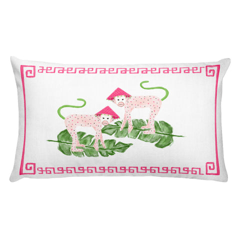Pink Monkeys Lumbar Pillow