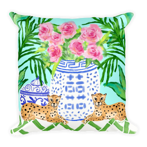 Pattern Play | Chinoiserie Cheetah Pillow Teal