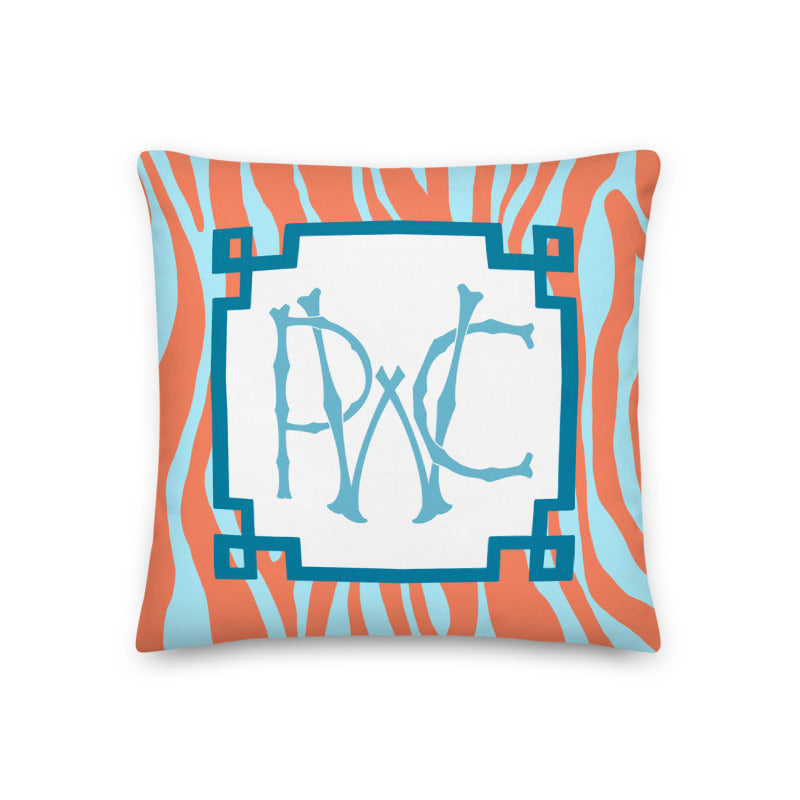 Monogram Pillow Zebra | Orange