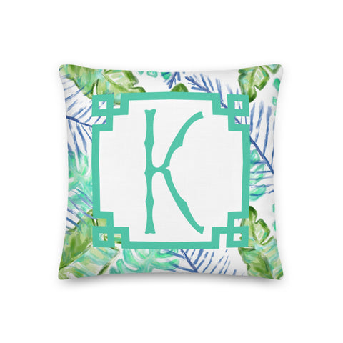 Monogram Palm Leaf Pillow