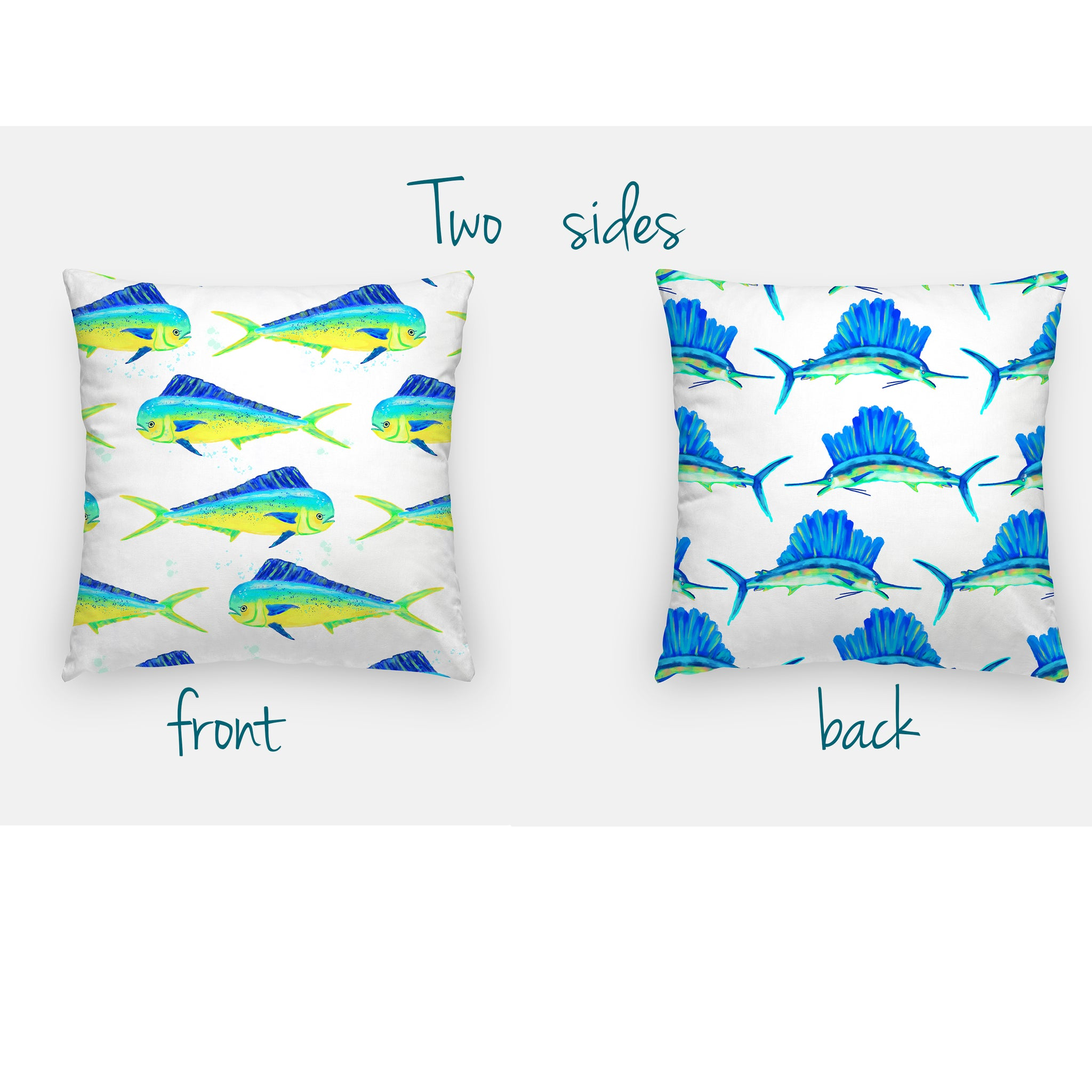 Sailfish and Dolphin 16x16 pillow