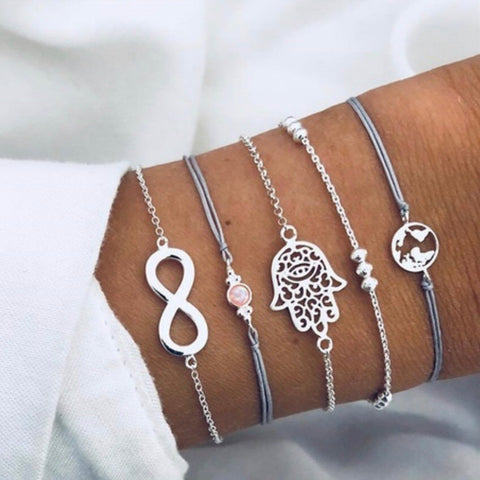 💎 Trendy 5 piece silver bracelet set