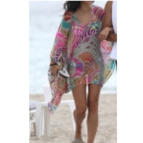 👚Bright psychedelic pattern swimsuit cover up