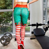 🎀Christmas candy cane bow leggings