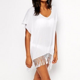 🐚White sheer honeycomb fringe coverup