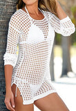 💟Sexy white shirt fishnet style coverup