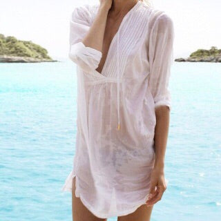 🐚White sheer dress shirt style cover up