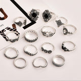 💍 15 pcs silver/diamonds/black ring set