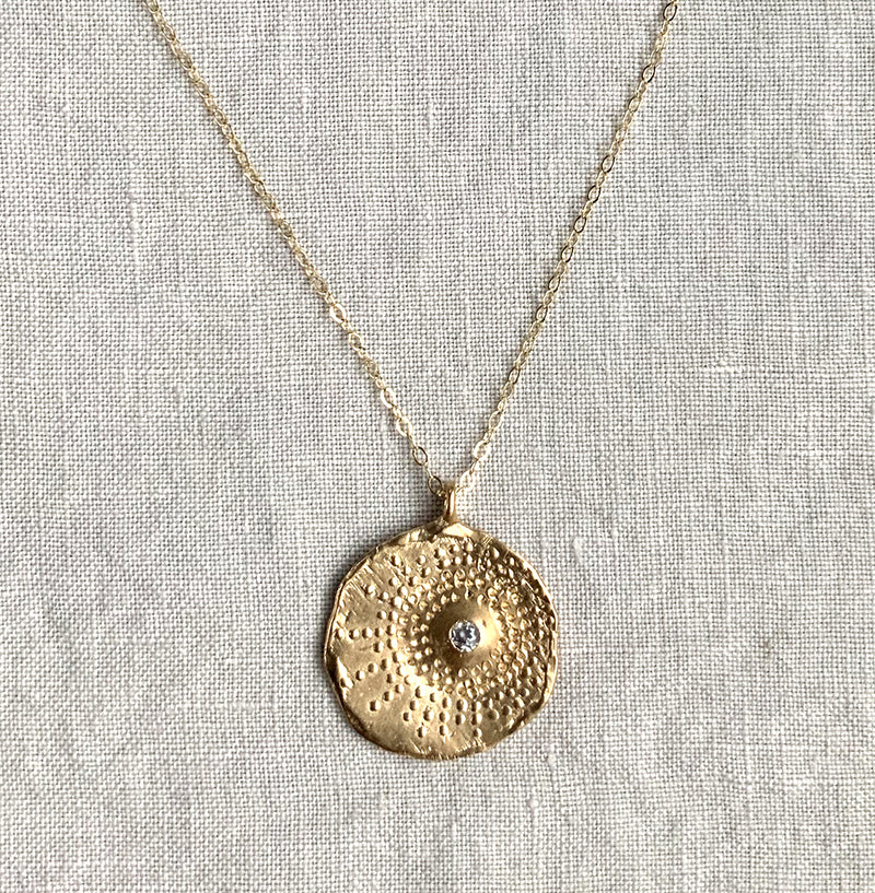 Keely Smith Gold Sparkle Imprint Disc Necklace