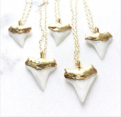Ke Aloha Big Gold Dip Shark Tooth Necklace (Mano Niho Kahi Sr)