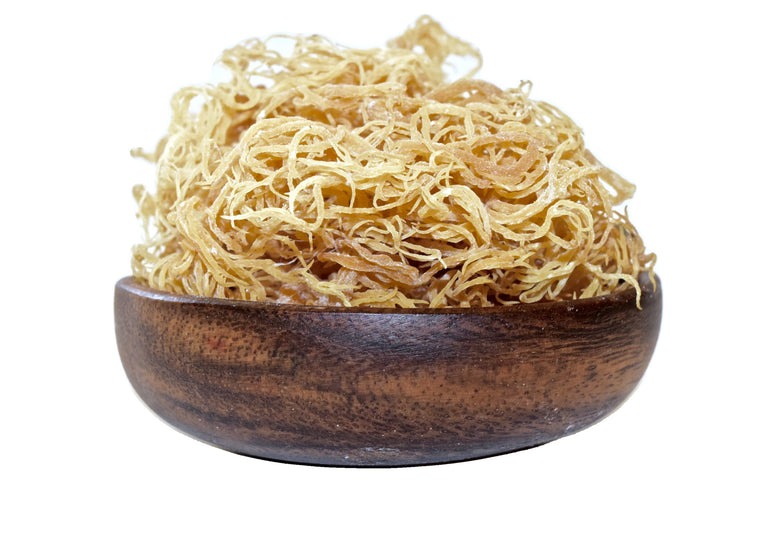 A bowl of St. Lucia Sea Moss. This is a 1 lb. bag for sale at Originallyyoursonline.com  Eucheuma Cottoni