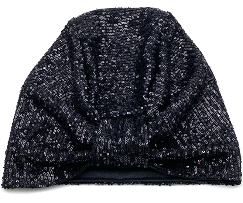 Hijabsandstuff Specials Turban Basic Sequin - Black Handmade Luxury Fashion Women Headwrap