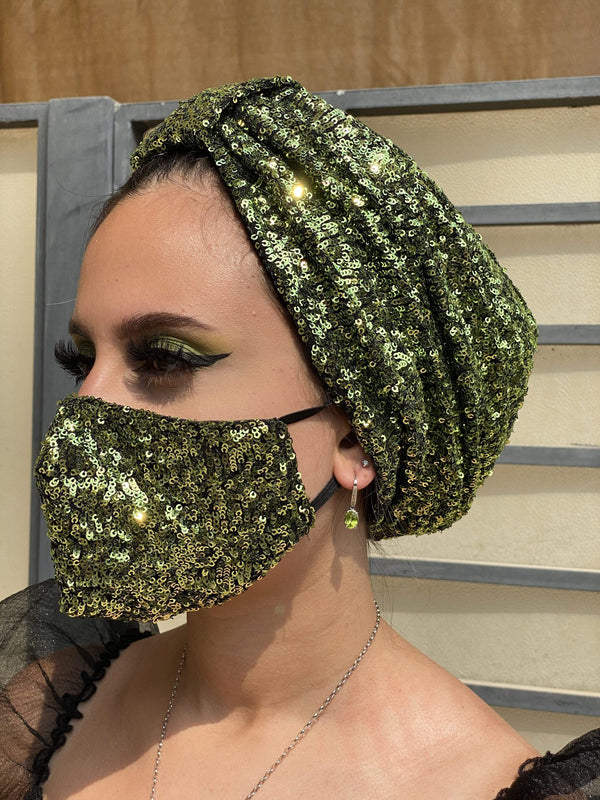 Hijabsandstuff Specials Turban Basic Sequin Combo - Greens Handmade Luxury Fashion Women Headwrap