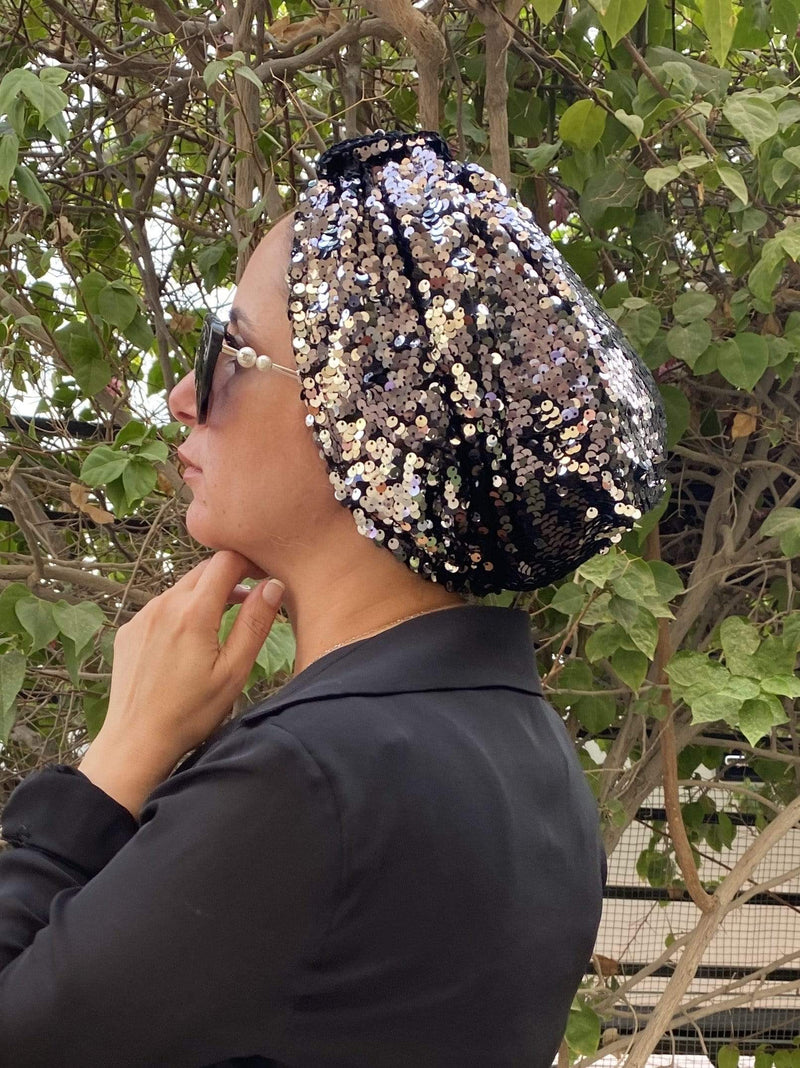 Hijabsandstuff Specials Turban Basic Sequin - Double Black Handmade Luxury Fashion Women Headwrap