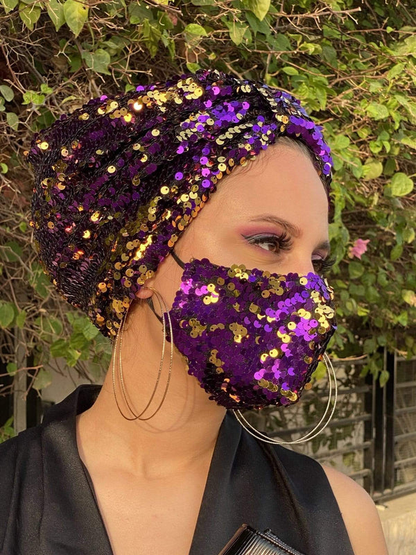 Hijabsandstuff Specials Turban Basic Sequin - Gold Purple Handmade Luxury Fashion Women Headwrap