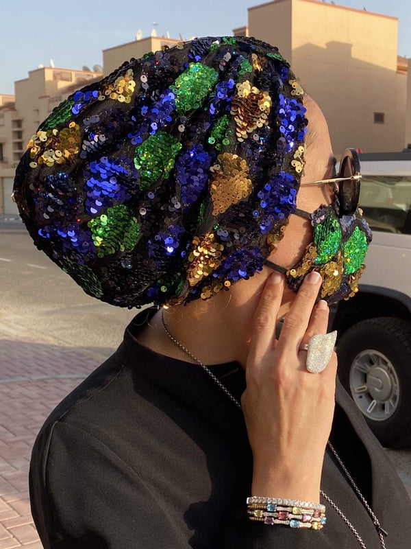 Hijabsandstuff Specials Turban Basic Sequin - New Disco Blue Green Handmade Luxury Fashion Women Headwrap