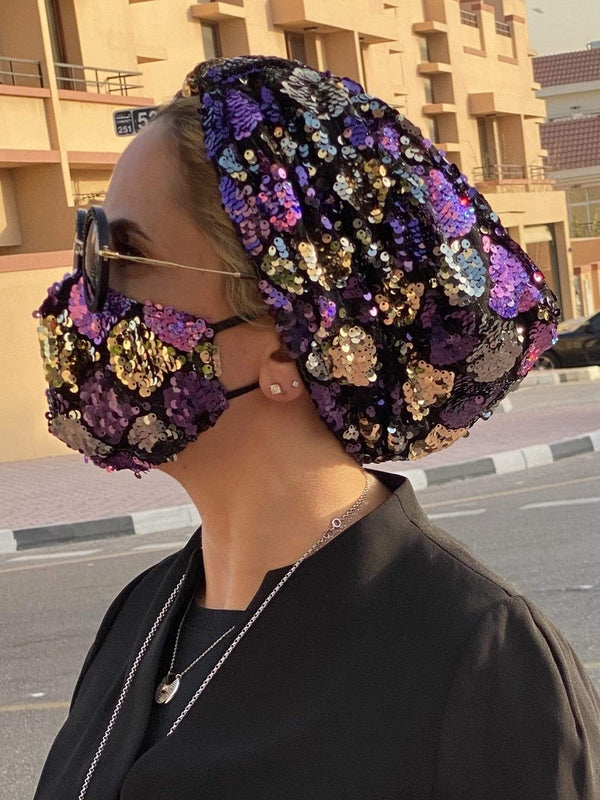 Hijabsandstuff Specials Turban Basic Sequin - New Disco Purple Handmade Luxury Fashion Women Headwrap