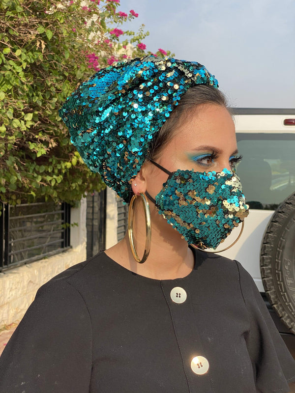 Hijabsandstuff Specials Turban Basic Sequin - Turquoise Handmade Luxury Fashion Women Headwrap