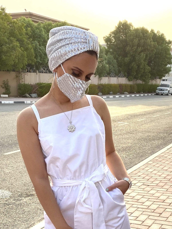 Hijabsandstuff Specials Turban Basic Sequin - White Silver Handmade Luxury Fashion Women Headwrap
