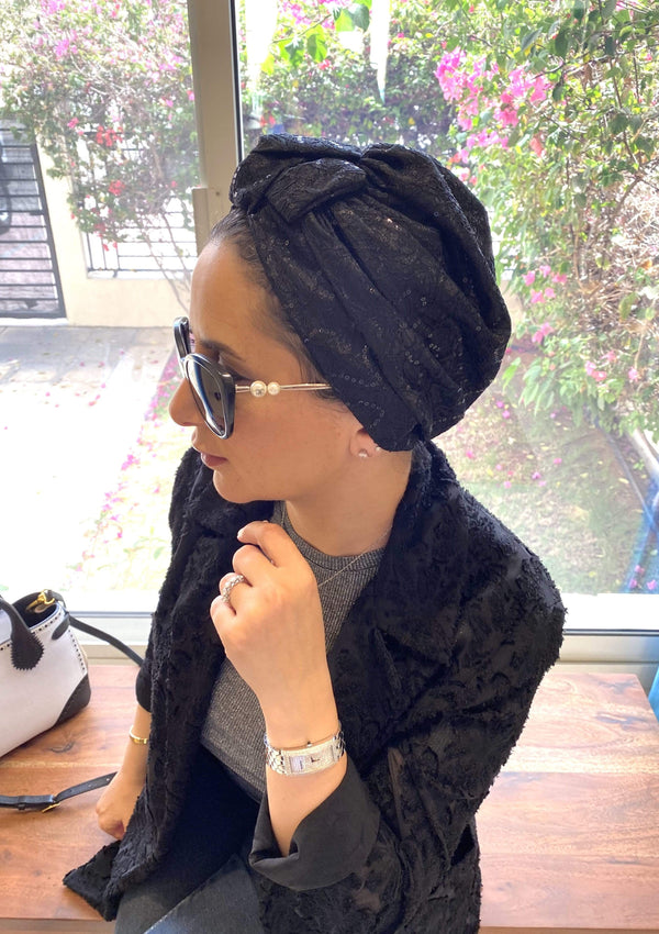 Hijabsandstuff Specials Turban Bow Sequin - Black Handmade Luxury Fashion Women Headwrap