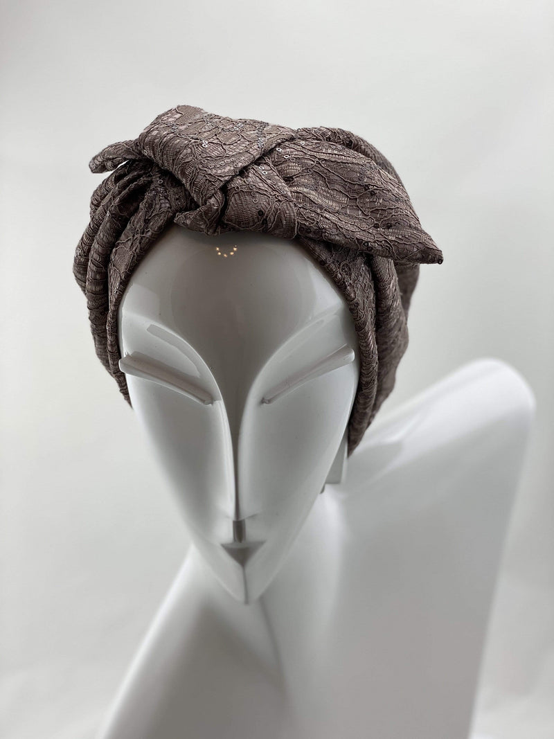 Hijabsandstuff Specials Turban Bow Sequin - Brown Rose Handmade Luxury Fashion Women Headwrap