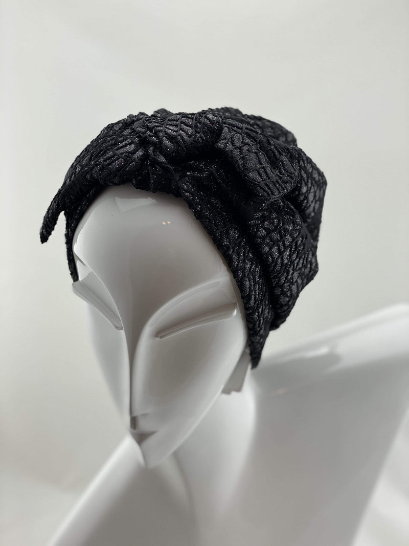 Hijabsandstuff Specials Turban Shimmer Bow - Black Handmade Luxury Fashion Women Headwrap