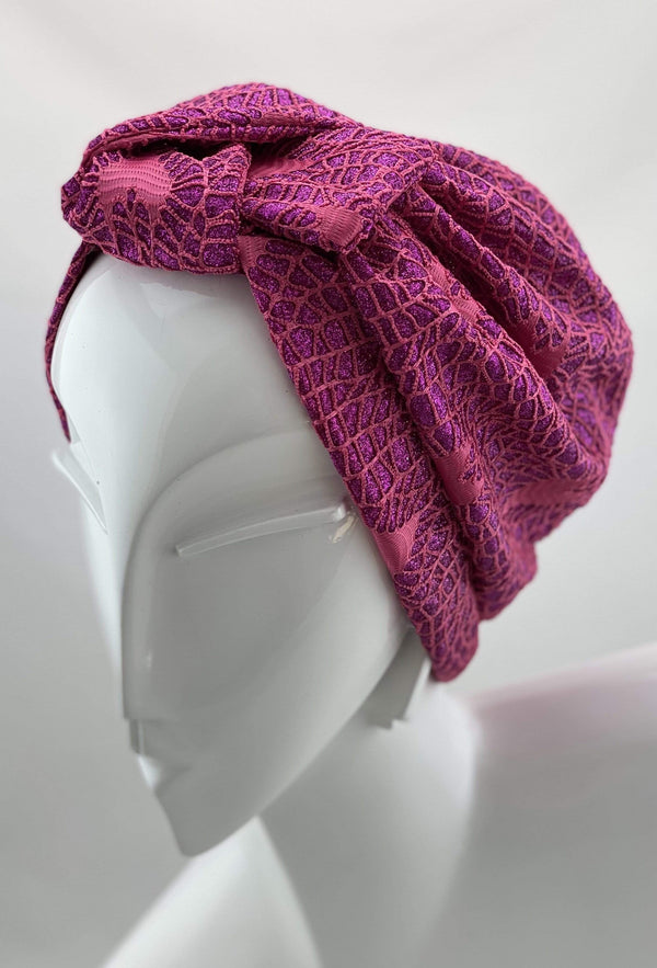 Hijabsandstuff Specials Turban Shimmer Bow - Fuchsia Handmade Luxury Fashion Women Headwrap
