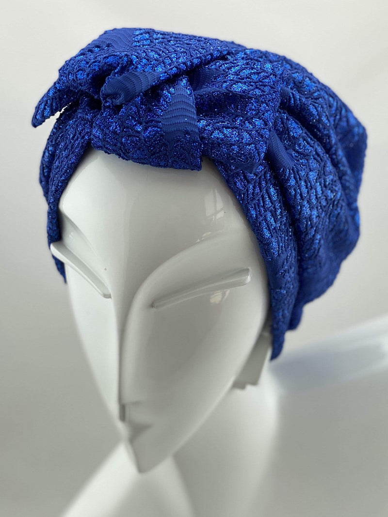 Hijabsandstuff Specials Turban Shimmer Bow - Ocean Handmade Luxury Fashion Women Headwrap