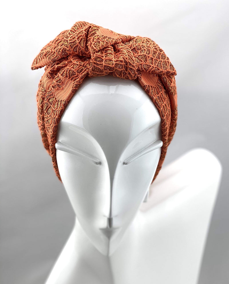 Hijabsandstuff Specials Turban Shimmer Bow - Orange Handmade Luxury Fashion Women Headwrap