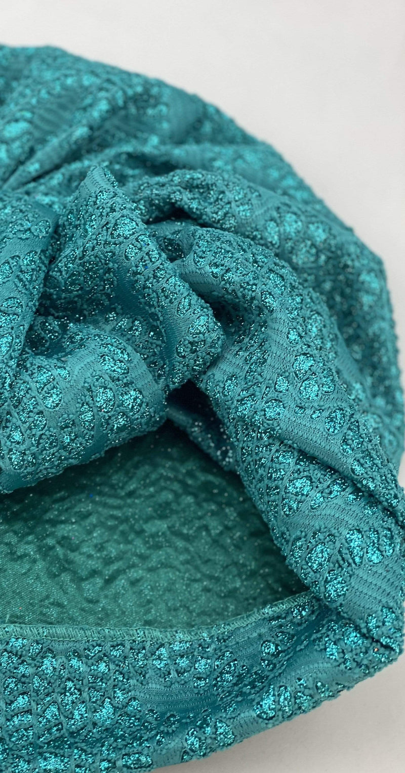 Hijabsandstuff Specials Turban Shimmer Bow - Turquoise Handmade Luxury Fashion Women Headwrap