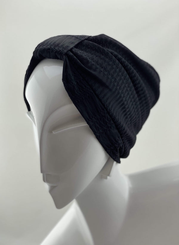 Hijabsandstuff TURBAN BASICS Jersey Lace - Black Handmade Luxury Fashion Women Headwrap