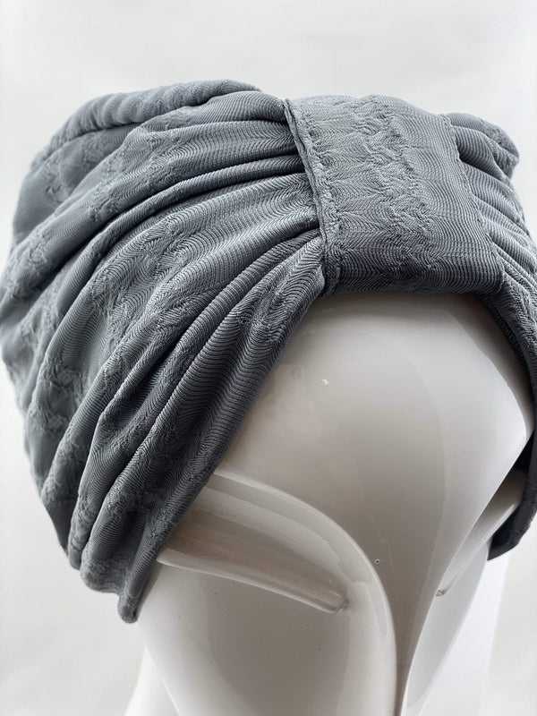 Hijabsandstuff TURBAN BASICS Jersey Lace - Dark Grey Handmade Luxury Fashion Women Headwrap