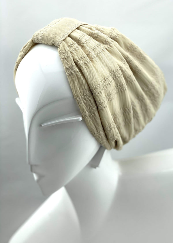 Hijabsandstuff TURBAN BASICS Jersey Lace - Ivory Handmade Luxury Fashion Women Headwrap