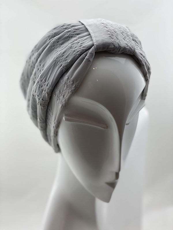 Hijabsandstuff TURBAN BASICS Jersey Lace - Light Grey Handmade Luxury Fashion Women Headwrap