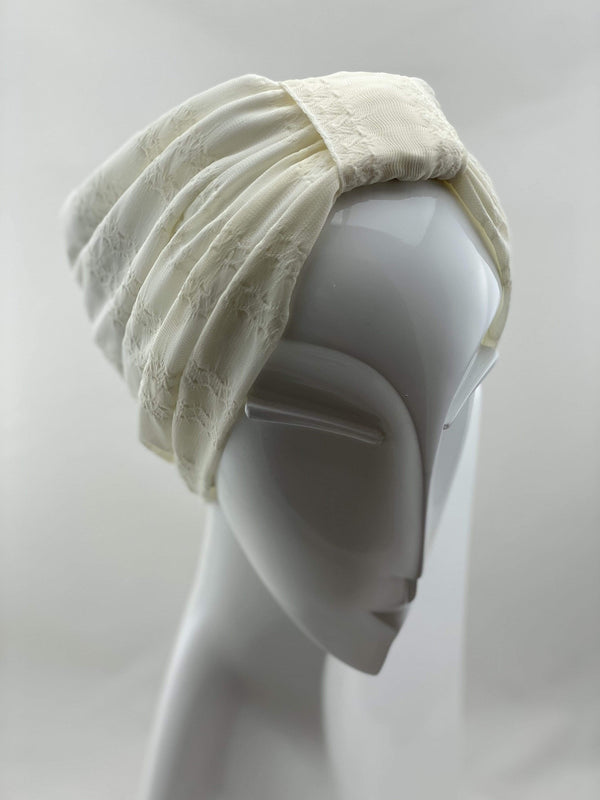 Hijabsandstuff TURBAN BASICS Jersey Lace - Off White Handmade Luxury Fashion Women Headwrap