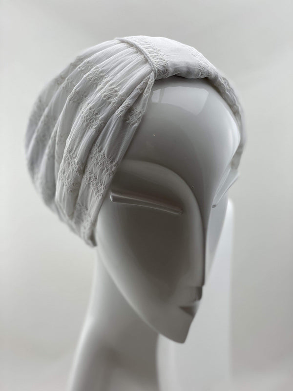 Hijabsandstuff TURBAN BASICS Jersey Lace - White Handmade Luxury Fashion Women Headwrap