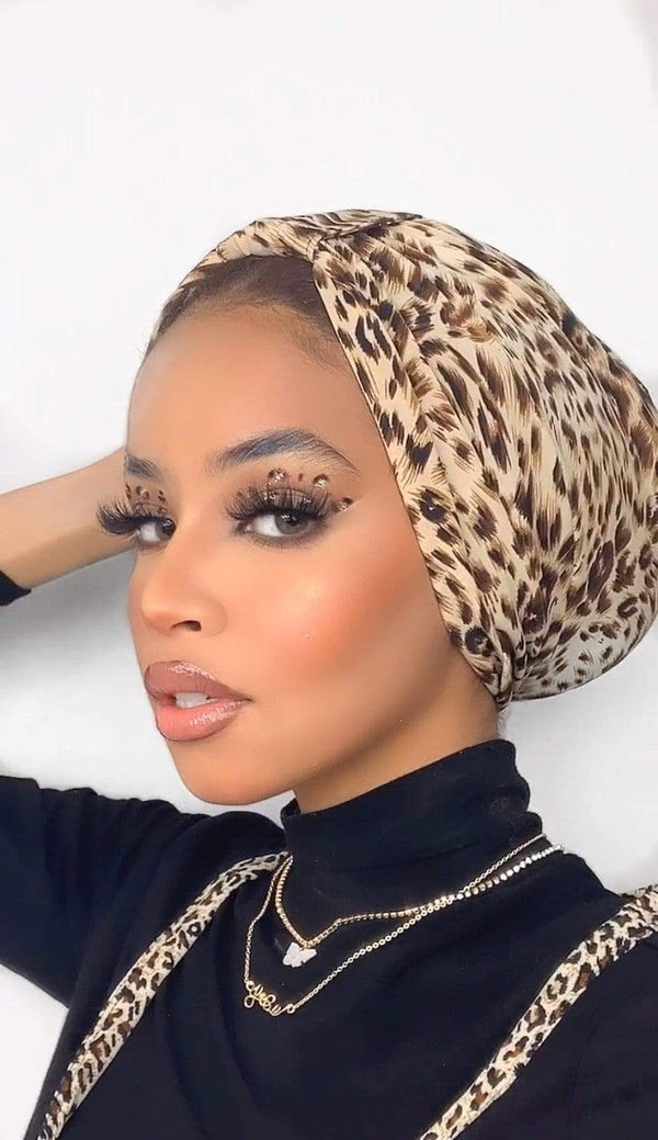 Hijabsandstuff TURBAN BASICS Turban Jersey - Leopard Handmade Luxury Fashion Women Headwrap