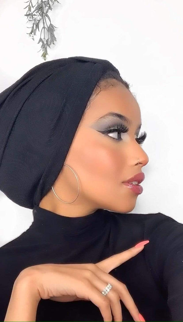 Hijabsandstuff TURBAN BASICS Turban Jersey - Printed Black Handmade Luxury Fashion Women Headwrap