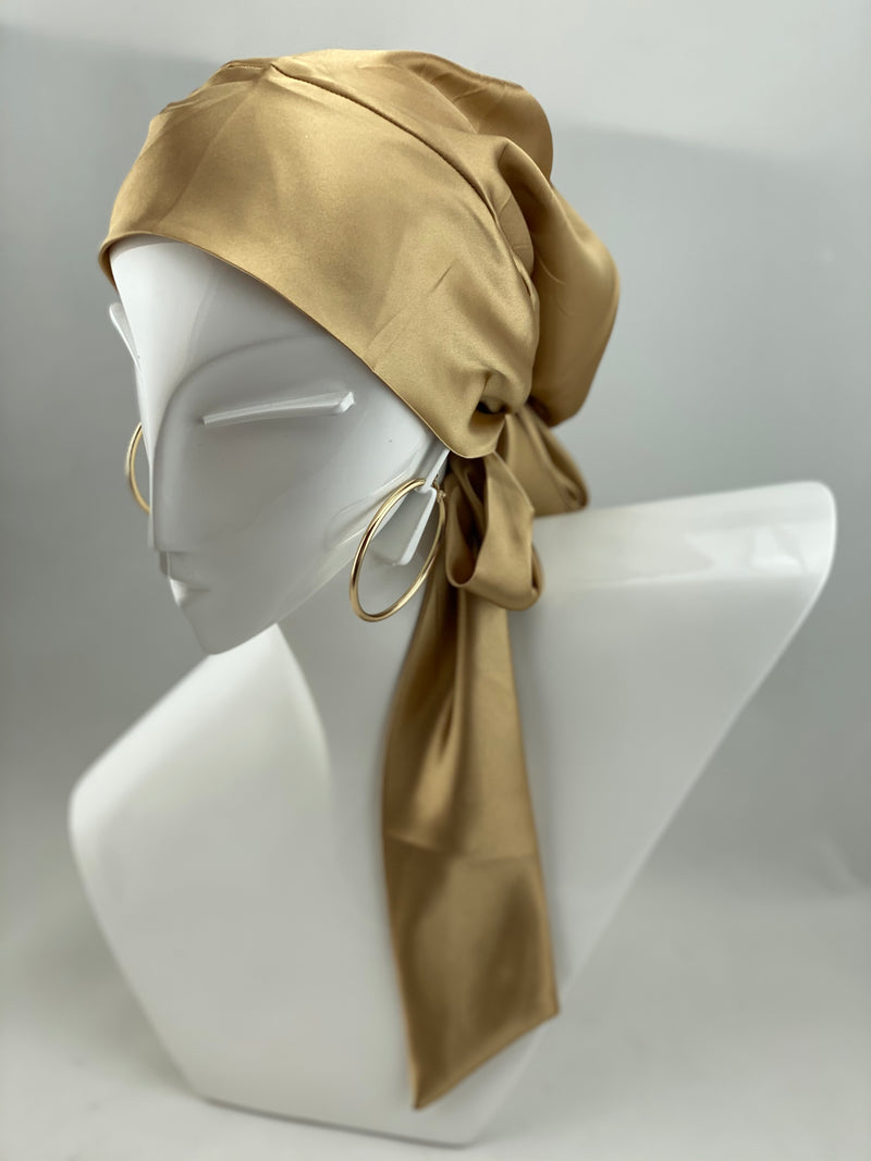Satin Beanie Wrap - Gold