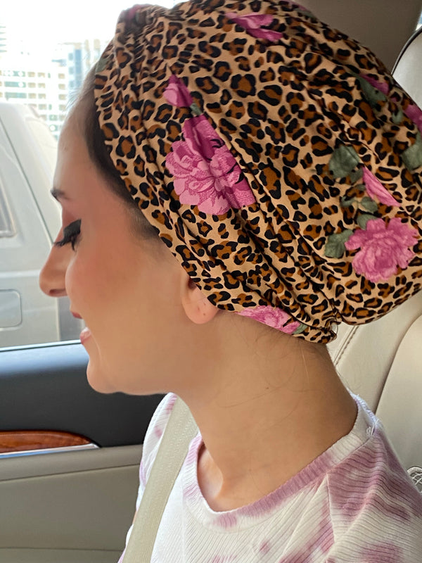 Cross front Jersey Turban  - Floral Jaguar